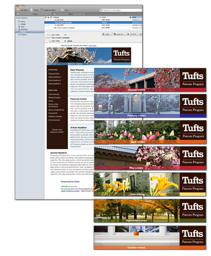 Tufts University Parents Program e-newsletter template including interchangeable seasonal banners