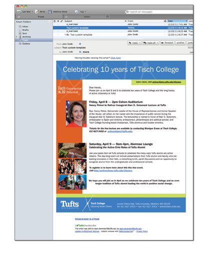 Tufts University Tisch College 10-year celebration event e-mail invitation