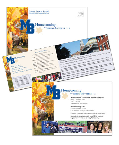Moses Brown School Homecoming Weekend self-mailer
